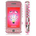 100% Brand New Hearts Bling Hard Plastic Case For Samsung S5230 Pink