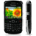 Clear Flower Rhinestone 3D Bling Case For Blackberry 8520