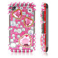 Pink Hearts 3D Crystal Bling Back Case For LG KP500
