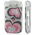 Silver Crystal Diamond Bling Case For Blackberry 8900