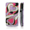 100% Brand New Hearts 3D Crystal Bling Hard Plastic Case For Sony Ericsson Vivaz