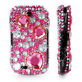 100% Brand New Hearts Bling Hard Plastic Case For Samsung S3650 Pink