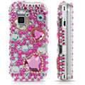 100% Brand New Pink Hearts 3D Crystal Bling Hard Plastic Case For Nokia Mini N97