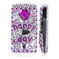100% Brand New Purple 3D Crystal Bling Hard Plastic Case For Sony Ericsson Vivaz