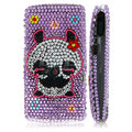 100% Brand New Purple Panda Crystal Bling Hard Plastic Case For Sony Ericsson Vivaz