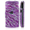 100% Brand New Purple Zebra Crystal Bling Hard Plastic Case For Sony Ericsson Vivaz