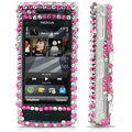 100% Brand New Pink Hearts 3D Crystal Bling Hard Plastic Case For Nokia X6