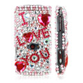 100% Brand New Pink Love Crystal Bling Hard Plastic Case For Sony Ericsson Vivaz