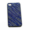 zebra iphone 4G case crystal bling cover - blue