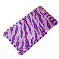 zebra iphone 4G case crystal bling cover - purple