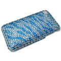 zebra iphone 3G case crystal bling cover - blue