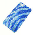 Zebra iphone 4G case bling crystal cover - blue