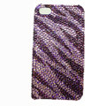 Zebra iphone 4G case crystal bling cover - purple EB002