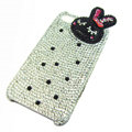 Rabbit Crystal bling case for iphone 4G - black rabbit