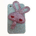 Rabbit Crystal bling case for iphone 4G - pink heart