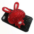 Rabbit Crystal bling case for iphone 4G - red rabbit