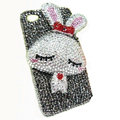 Rabbit Crystal bling case for iphone 4G - white EB002