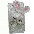 Rabbit Crystal bling case for iphone 4G - white EB003