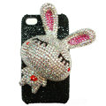 Rabbit Crystal bling case for iphone 4G - white EB006