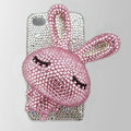 Rabbit bling Crystal case for iphone 4G - Pink rabbit