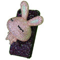 Rabbit bling Crystal case for iphone 4G - light pink rabbit