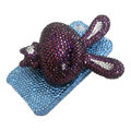 Rabbit bling Crystal case for iphone 4G - purple rabbit