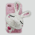 Rabbit bling Crystal case for iphone 4G - white rabbit