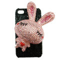 Rabbit Crystal bling case for iphone 3G - pink EB005