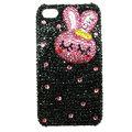 Rabbit Crystal bling case for iphone 4G - pink EB009