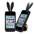 Rabbit ears Silicone case for iphone 4G - black