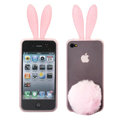 Rabbit ears Silicone case for iphone 4G - pink