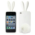 Rabbit ears Silicone case for iphone 4G - white
