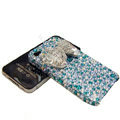 S-warovski crystal bling Butterfly case for iphone 4 - cyan