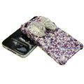S-warovski crystal bling Butterfly case for iphone 4 - purple