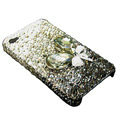 S-warovski crystal bling Flowers case for iphone 4 - black