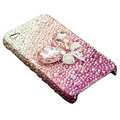 S-warovski crystal bling Flowers case for iphone 4 - pink