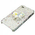 S-warovski crystal bling Flowers case for iphone 4 - white