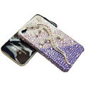 Bling S-warovski Crystal Gecko Case for iphone 4 - purple