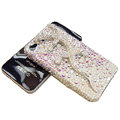Bling S-warovski Crystal Gecko Case for iphone 4 - white