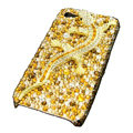 Bling S-warovski Crystal Gecko Case for iphone 4 - yellow