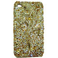 Bling S-warovski Crystal Lizard Case for iphone 4 - yellow