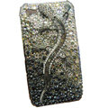 Bling S-warovski crystal Gecko case for iphone 4 - black EB005
