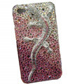 Bling S-warovski crystal Gecko case for iphone 4 - pink EB002