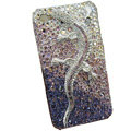Bling S-warovski crystal Gecko case for iphone 4 - purple EB003
