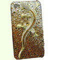 Bling S-warovski crystal Gecko case for iphone 4 - yellow EB004