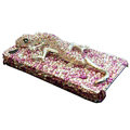 S-warovski Crystal bling Gecko Case for iphone 4 - pink