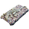 S-warovski Crystal bling Gecko Case for iphone 4 - purple