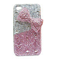 Butterfly knot bling crystal case for iphone 4 - pink