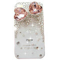 Bowknot S-warovski bling big crystal case for iphone 4G - pink
