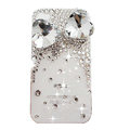 Bowknot S-warovski bling big crystal case for iphone 4G - white